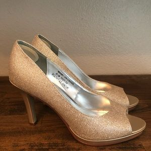David's Bridal Champagne Gold Peep Toe Heels